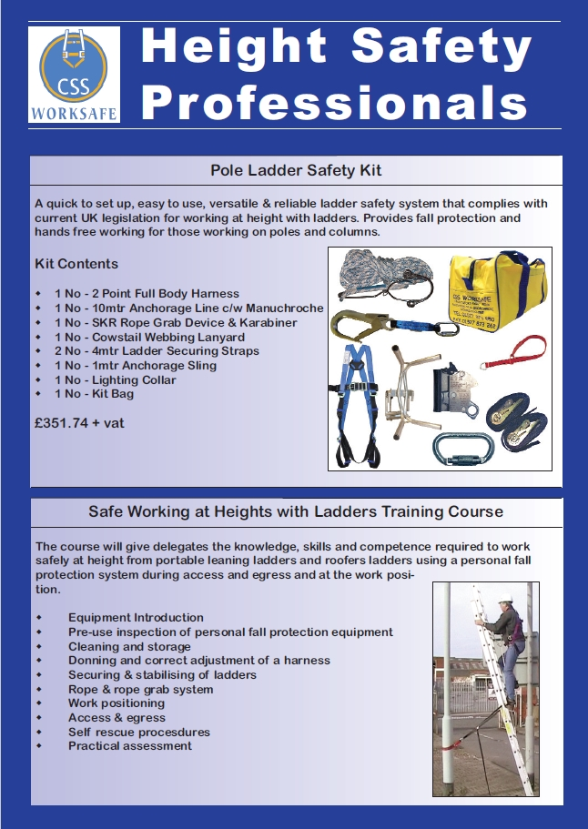 Css Worksafe Pole Lighting Column Ladder Safety Kit Css