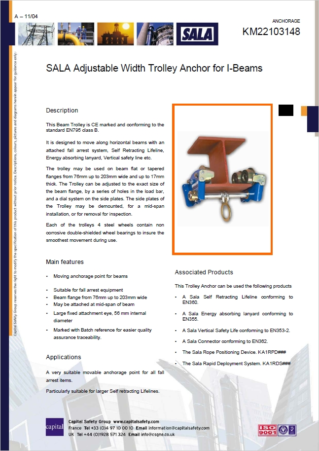 Dbi Sala Adjustable Width Trolley Anchor For I Beams Css Worksafe