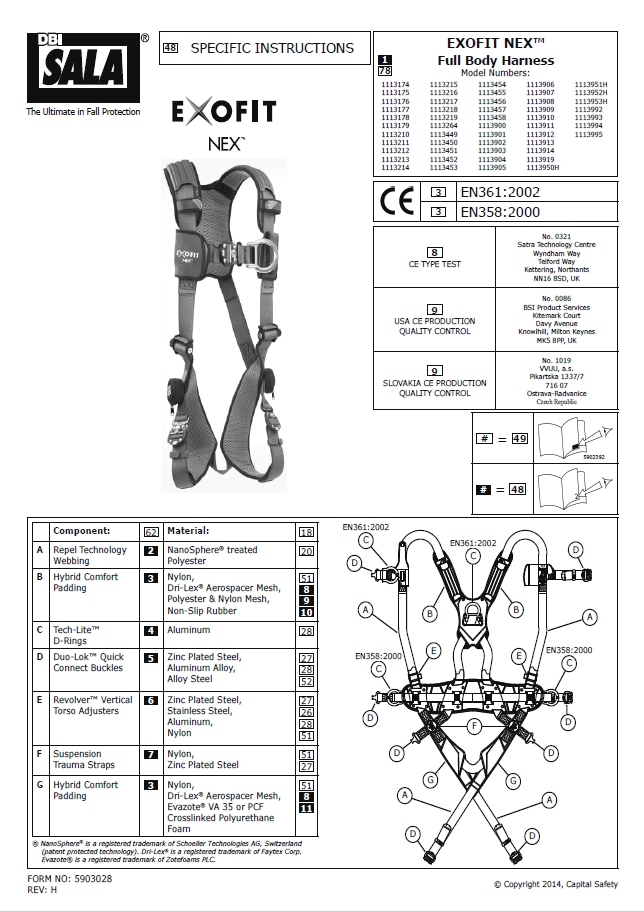 Dbi Sala Exofit Nex Front Rear Side D Harness Sml Css